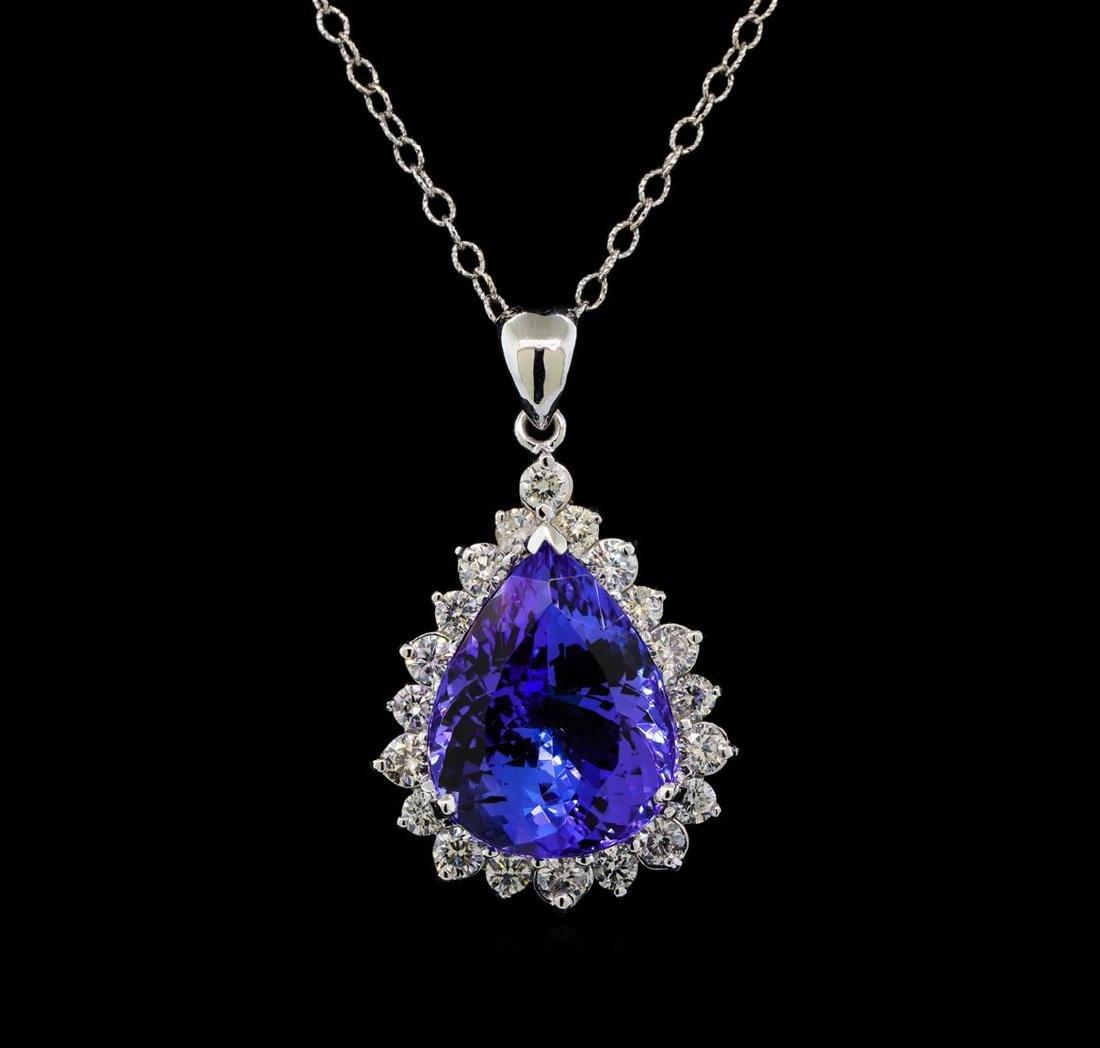GIA Cert 17.75 ctw Tanzanite and Diamond Pendant With