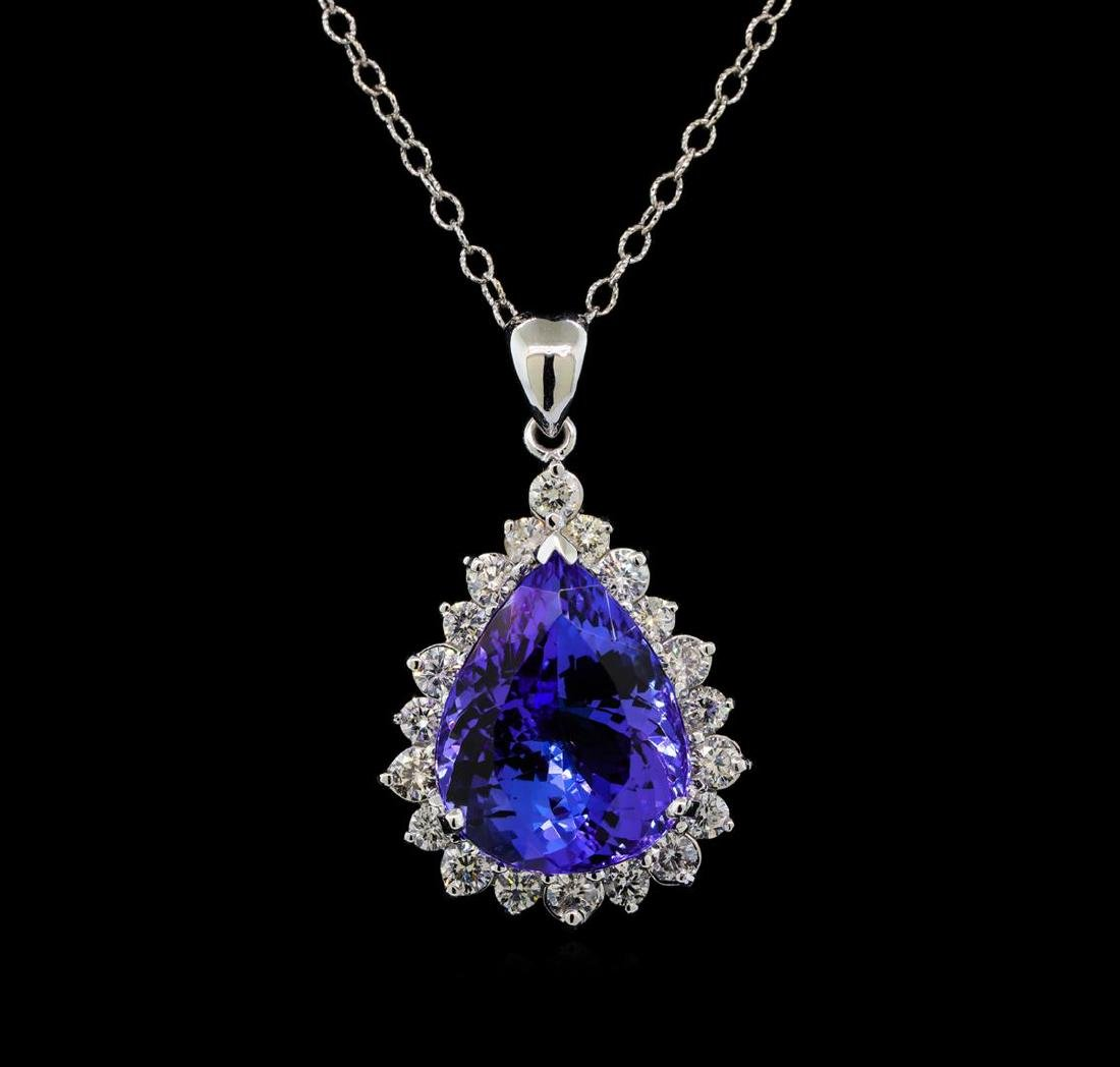 GIA Cert 17.75 ctw Tanzanite and Diamond Pendant With