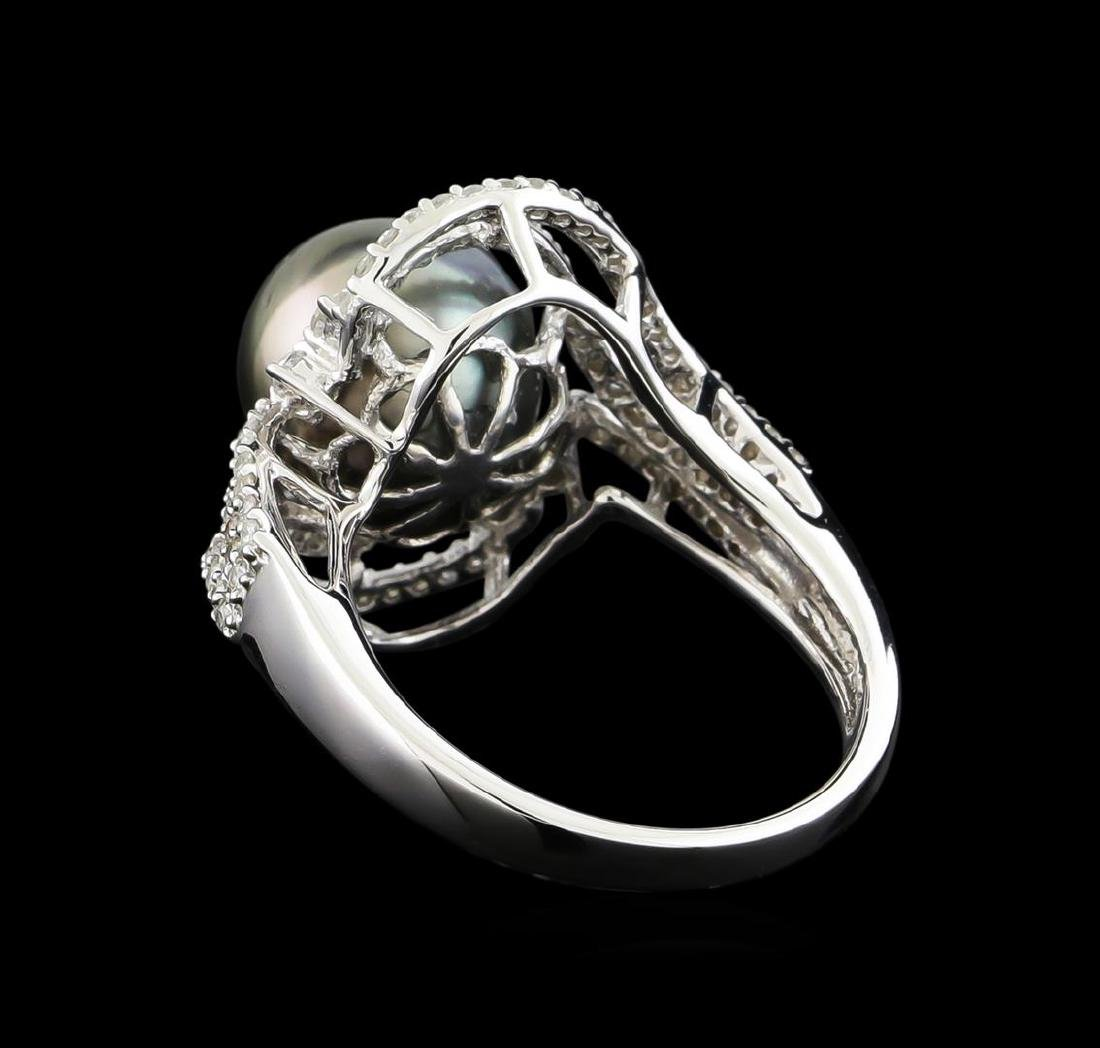 14KT White Gold Pearl and Diamond Ring - 3