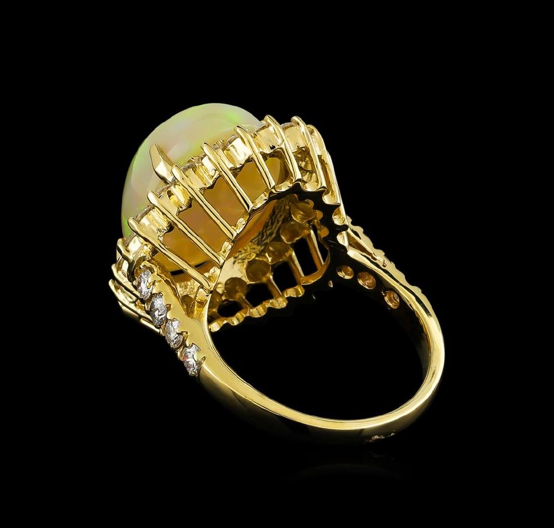 11.30 ctw Opal and Diamond Ring - 14KT Yellow Gold - 3