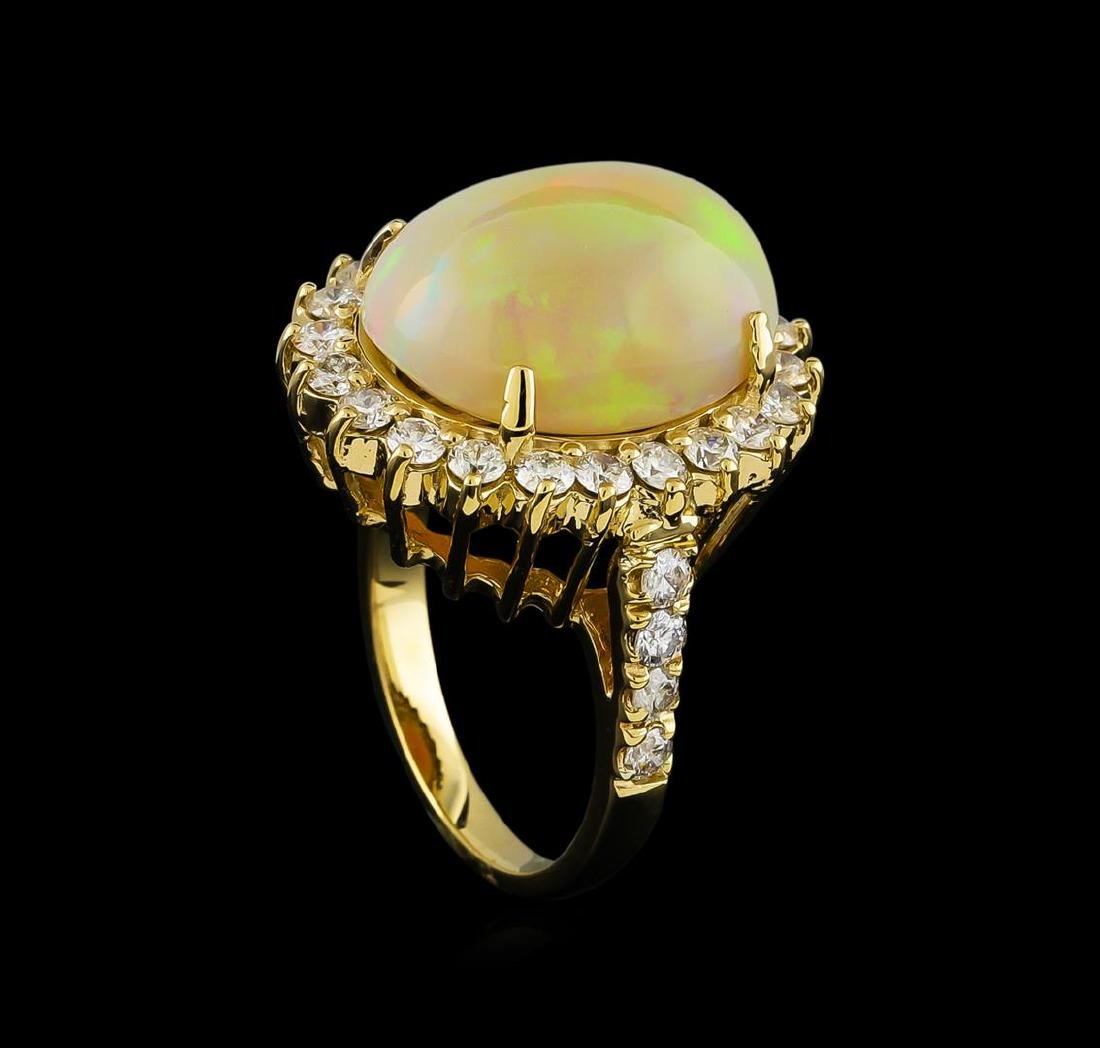 11.30 ctw Opal and Diamond Ring - 14KT Yellow Gold - 4