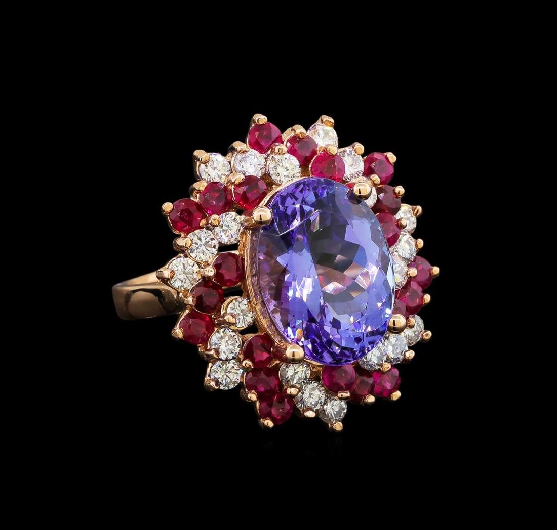 14KT Rose Gold 7.95 ctw Tanzanite, Ruby and Diamond