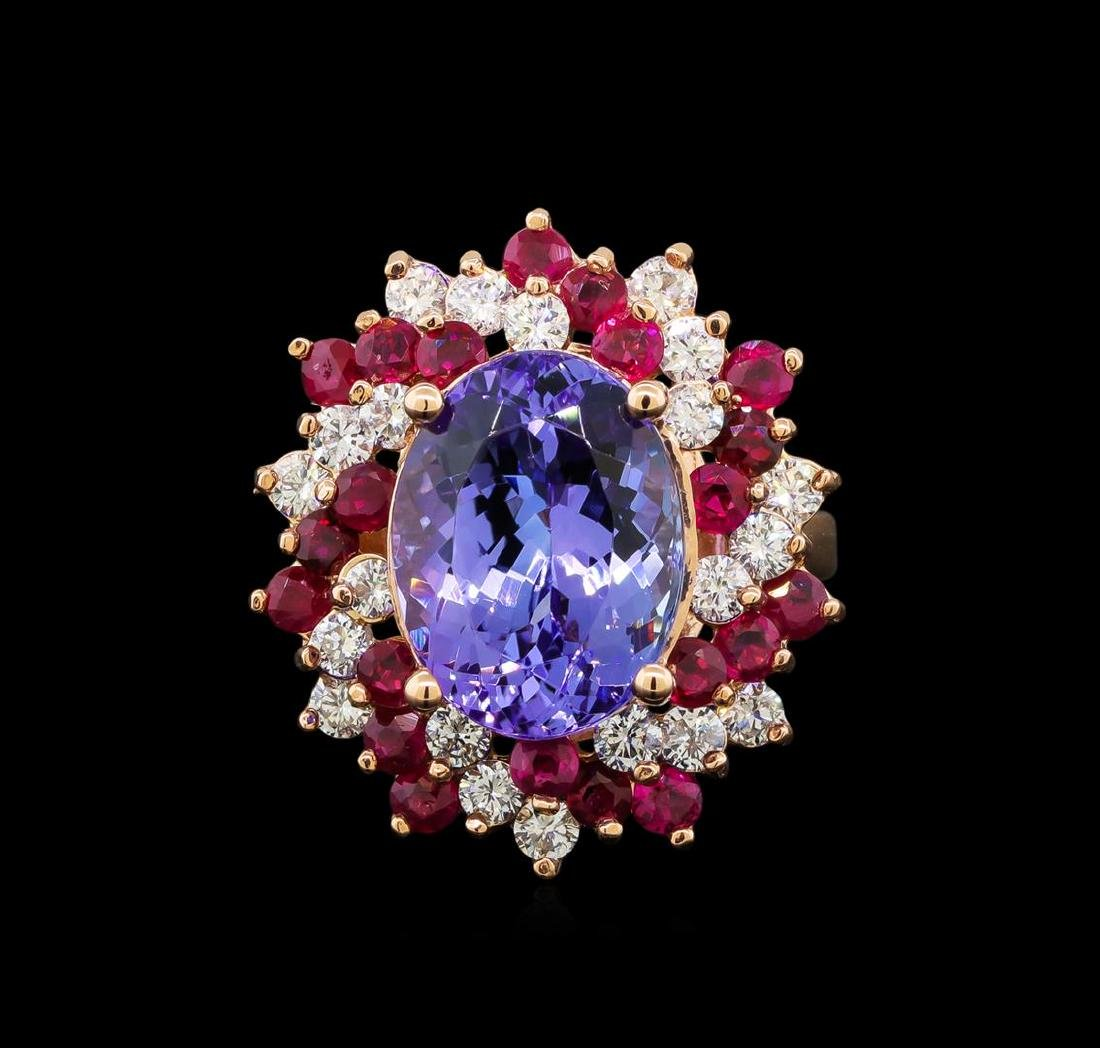 14KT Rose Gold 7.95 ctw Tanzanite, Ruby and Diamond - 2