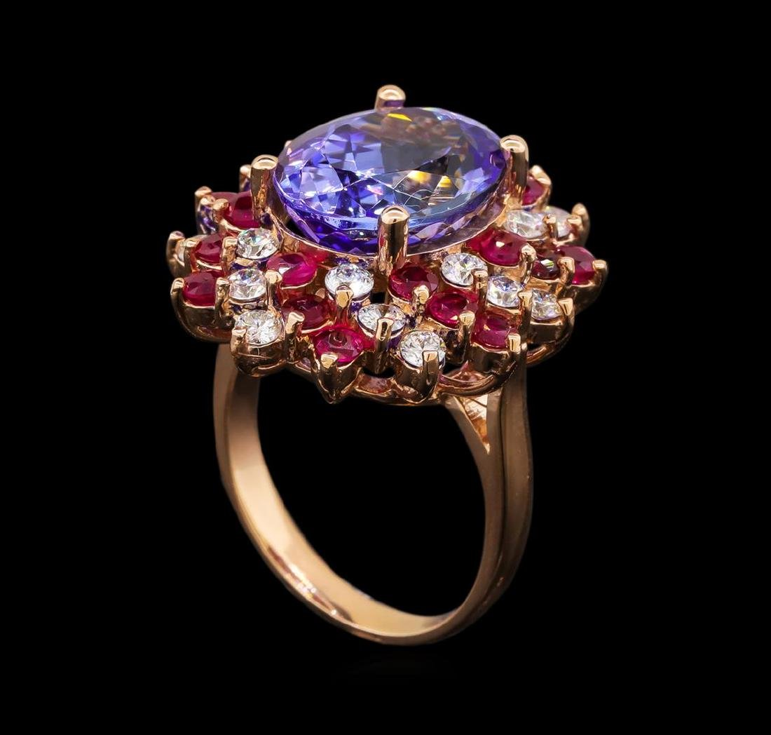 14KT Rose Gold 7.95 ctw Tanzanite, Ruby and Diamond - 4