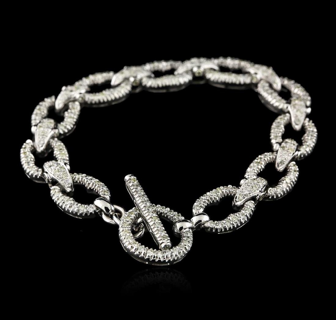 18KT White Gold 2.64 ctw Diamond Bracelet - 2