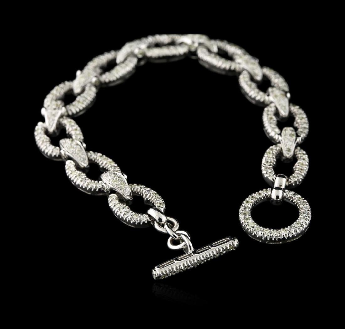 18KT White Gold 2.64 ctw Diamond Bracelet - 3