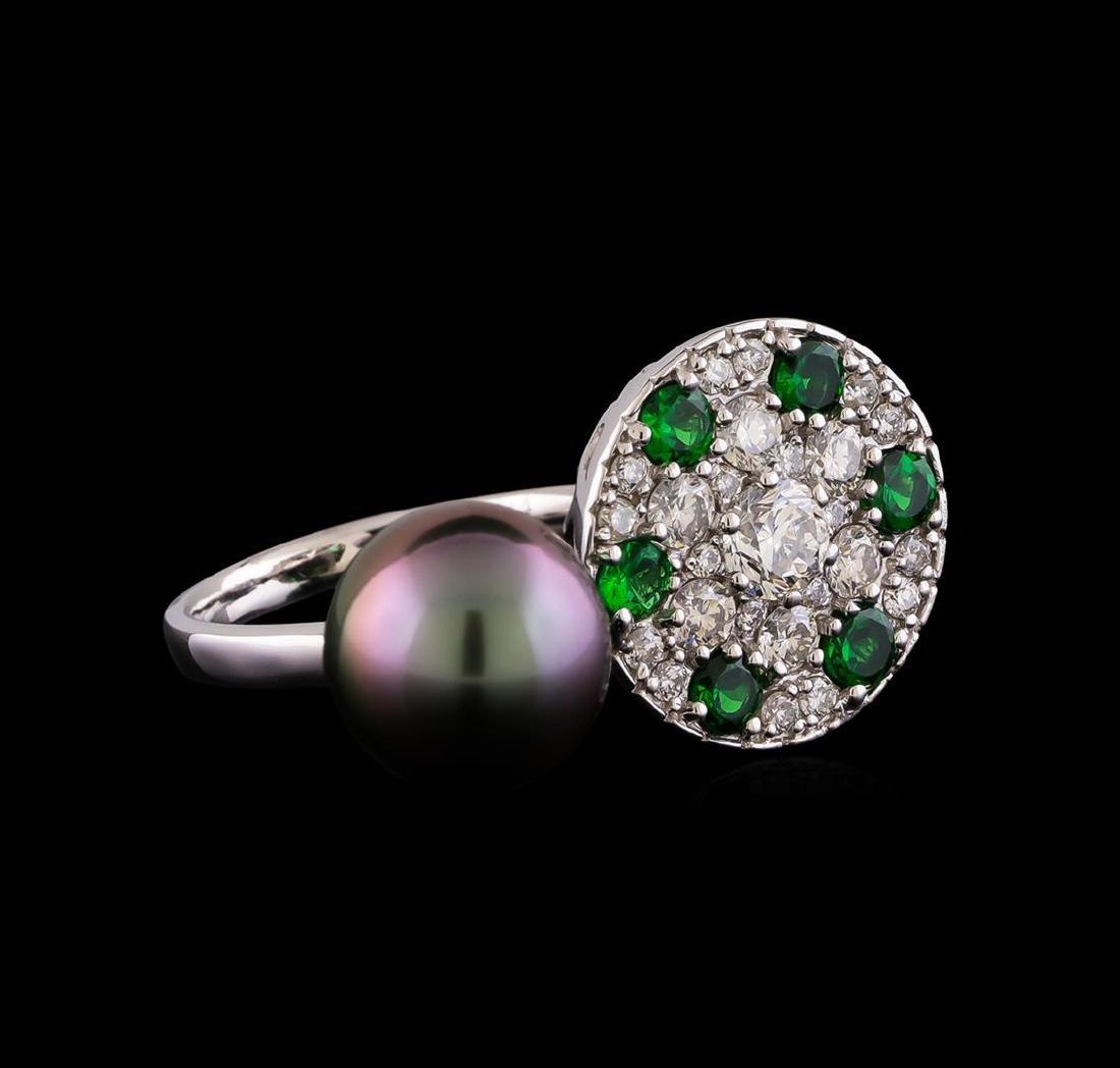 1.37 ctw Diamond, Tsavorite and Pearl Ring - 14KT White