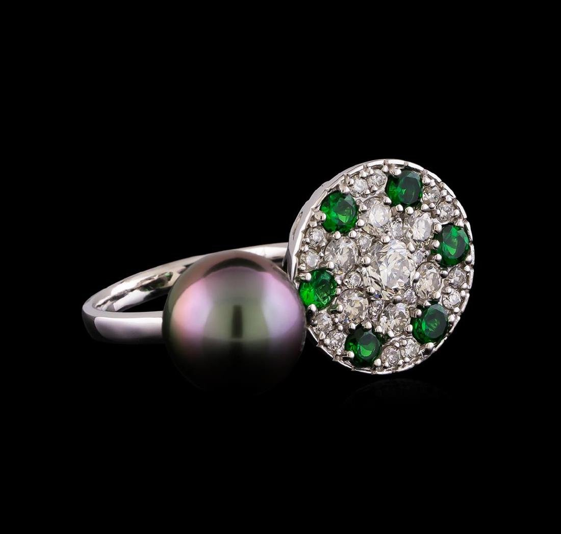 1.37 ctw Diamond, Tsavorite and Pearl Ring - 14KT White