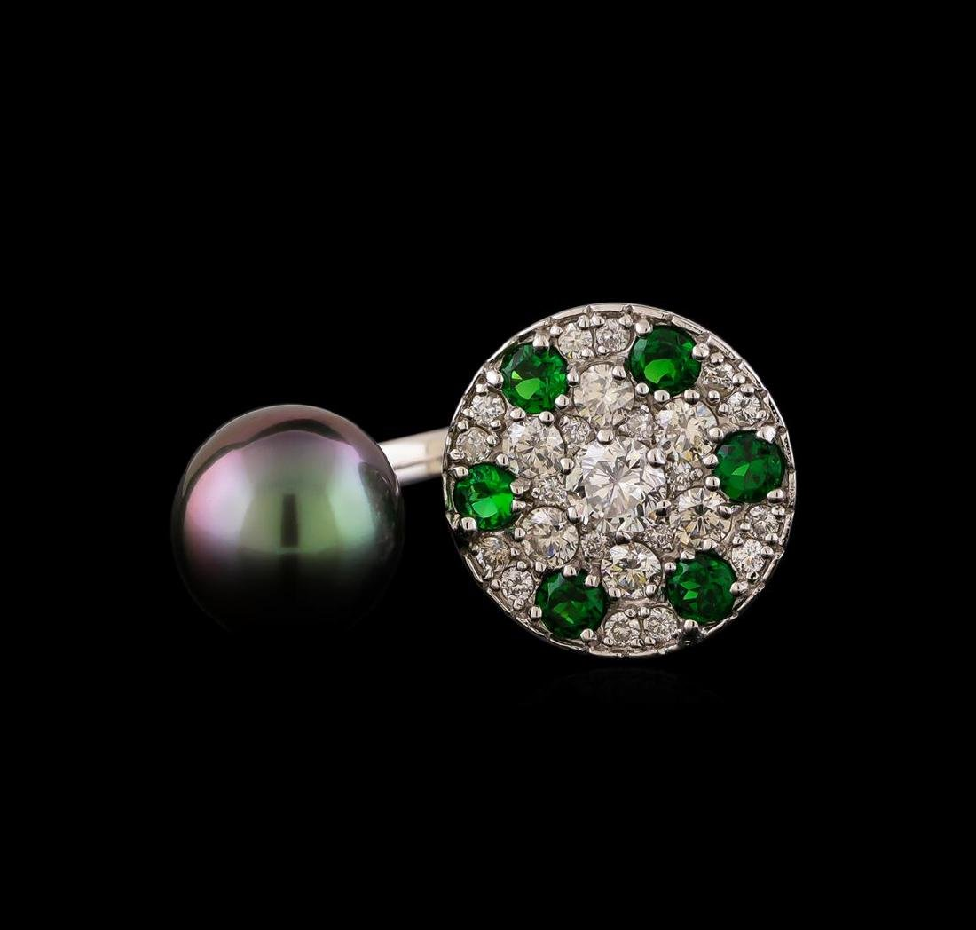 1.37 ctw Diamond, Tsavorite and Pearl Ring - 14KT White - 2