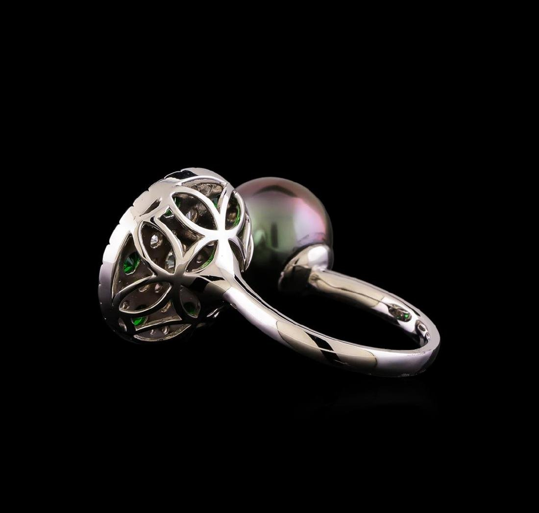 1.37 ctw Diamond, Tsavorite and Pearl Ring - 14KT White - 3