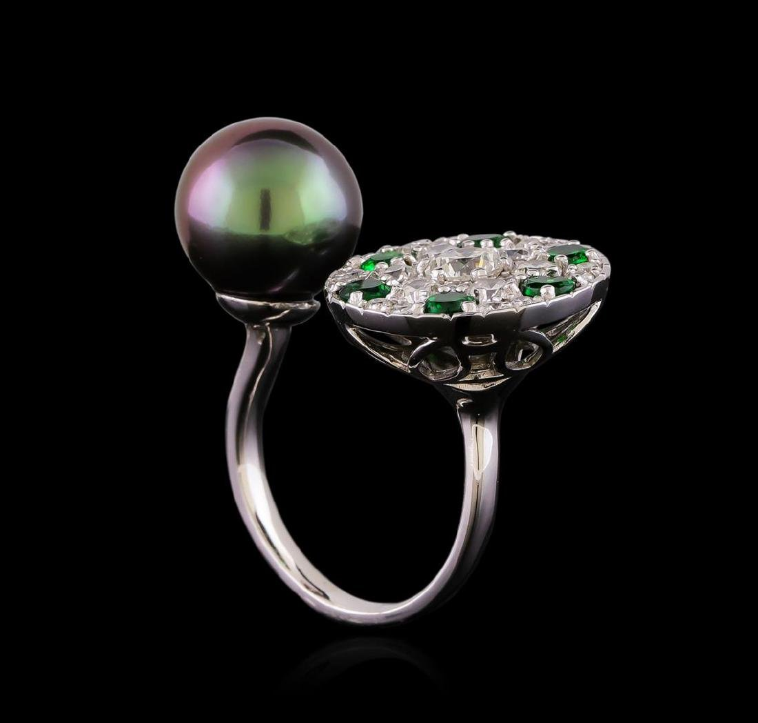 1.37 ctw Diamond, Tsavorite and Pearl Ring - 14KT White - 4