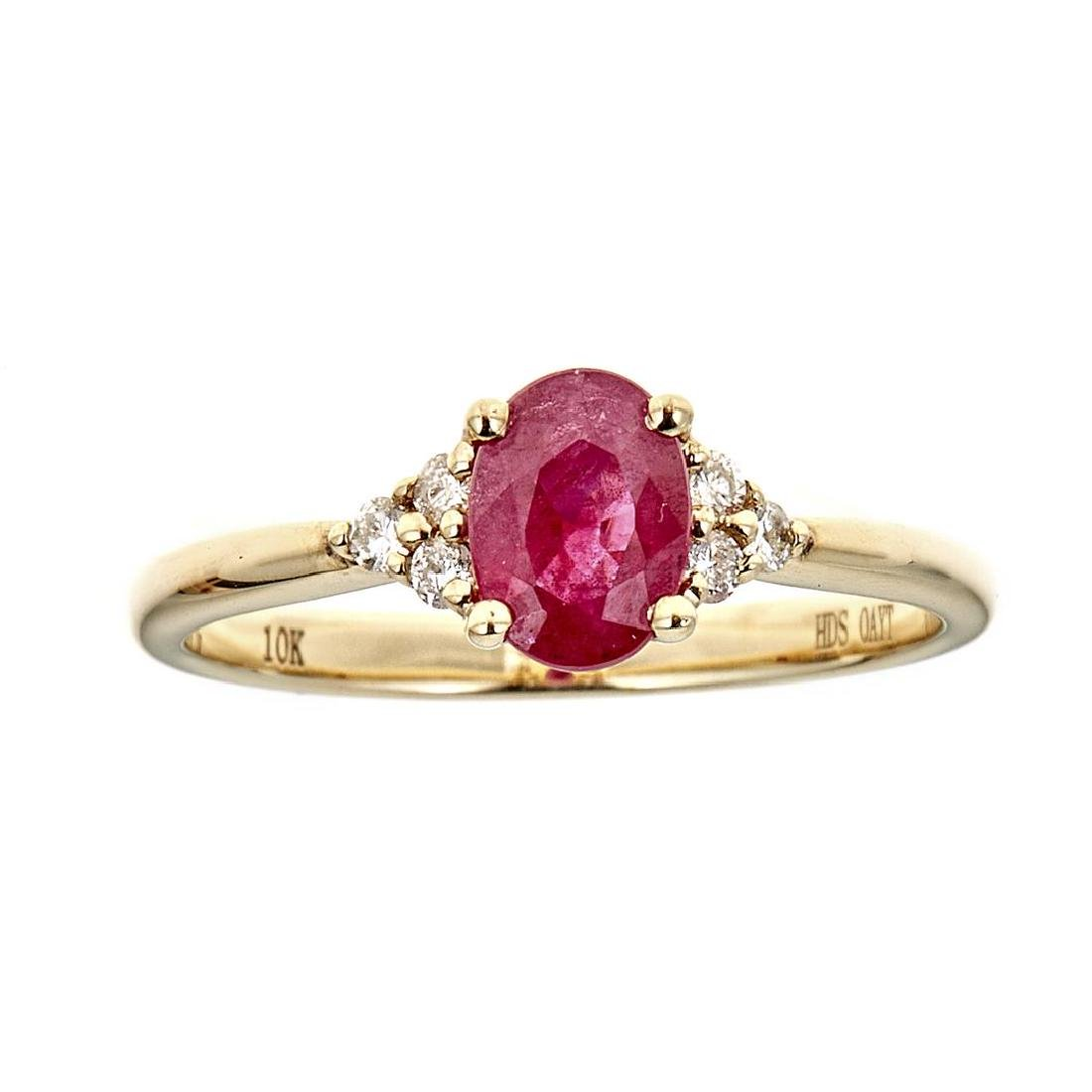 0.82 ctw Ruby and Diamond Ring - 10KT Yellow Gold