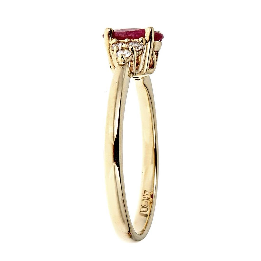 0.82 ctw Ruby and Diamond Ring - 10KT Yellow Gold - 2