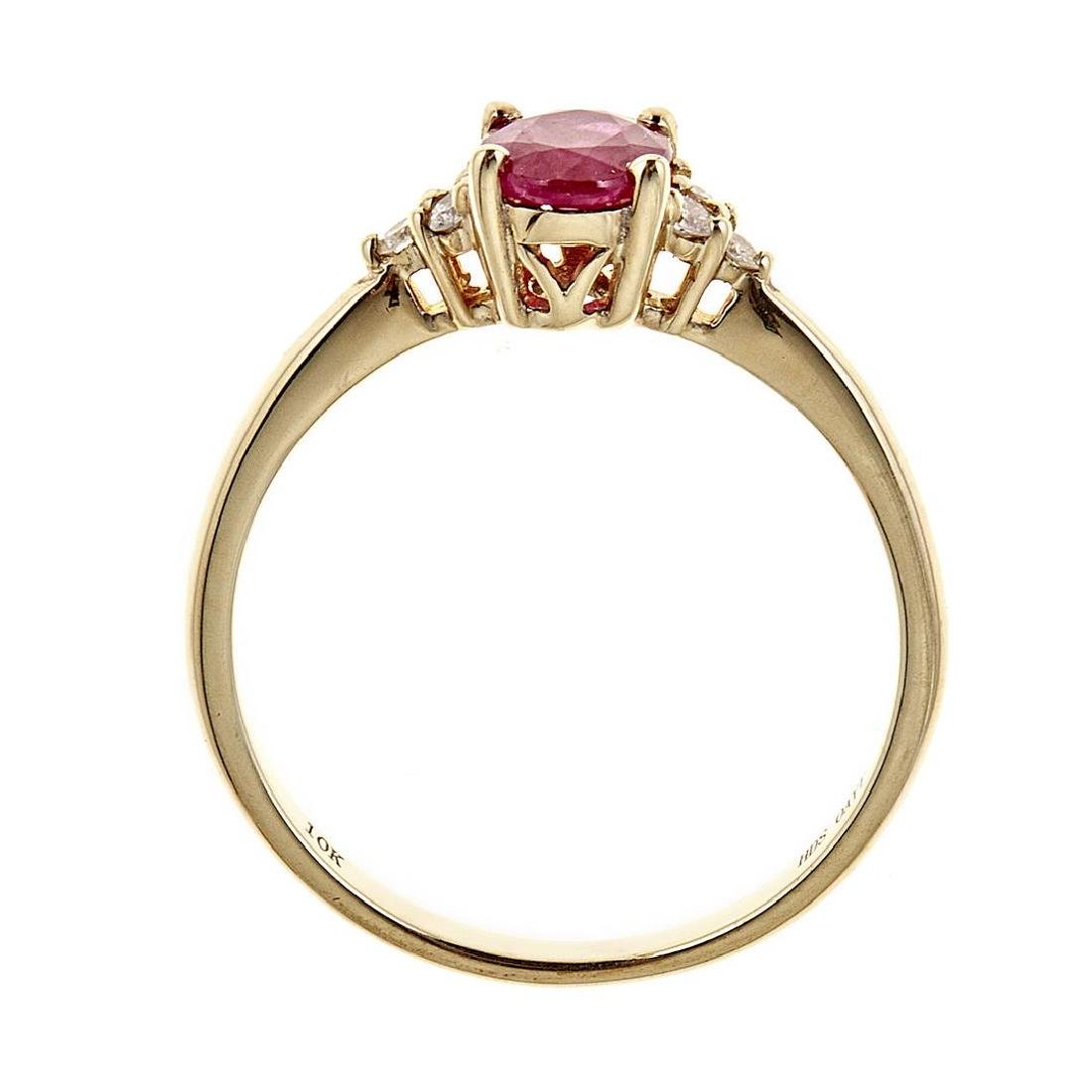 0.82 ctw Ruby and Diamond Ring - 10KT Yellow Gold - 3