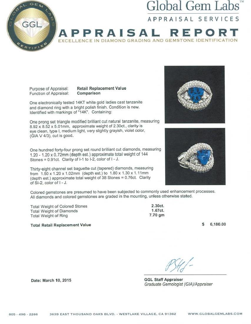 14KT White Gold 2.30 ctw Tanzanite and Diamond Ring - 4