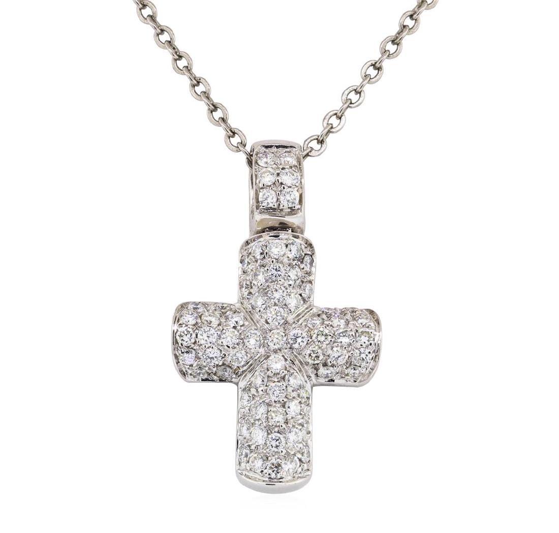 1.00 ctw Diamond Cross Pendant with Chain - 18KT White