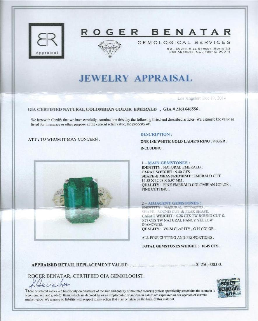 9.40 ctw Emerald and Diamond Ring - 18KT White Gold - 5