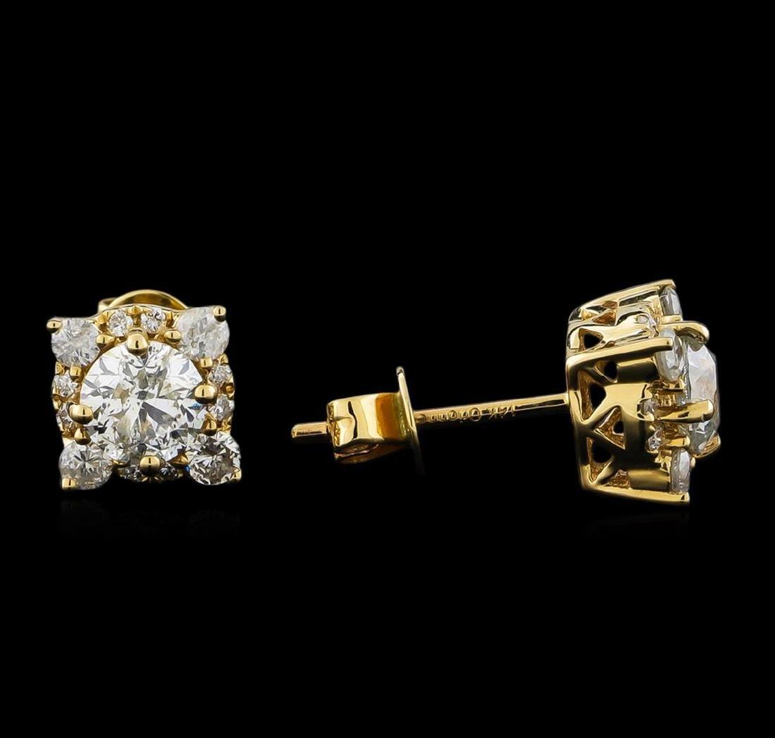 14KT Yellow Gold 1.62 ctw Diamond Earrings - 2