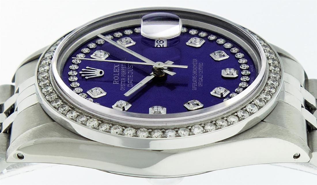 Rolex Mens Stainless Steel Puple String Diamond 36MM - 5