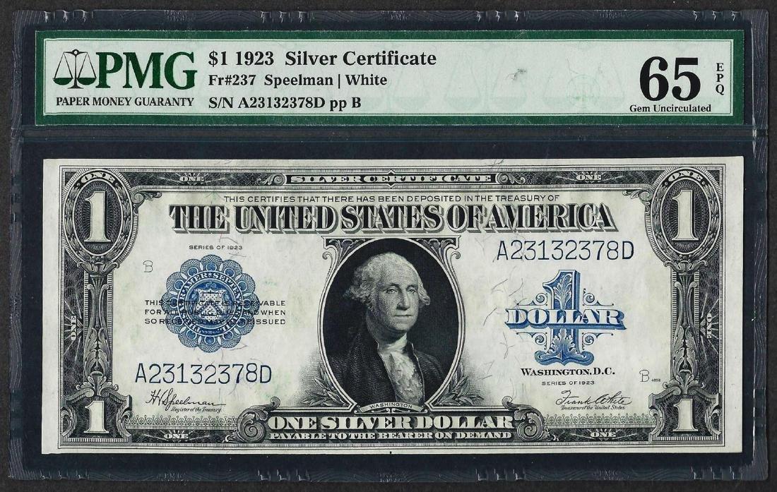 1923 $1 Silver Certificate Note Fr.237 PMG Gem