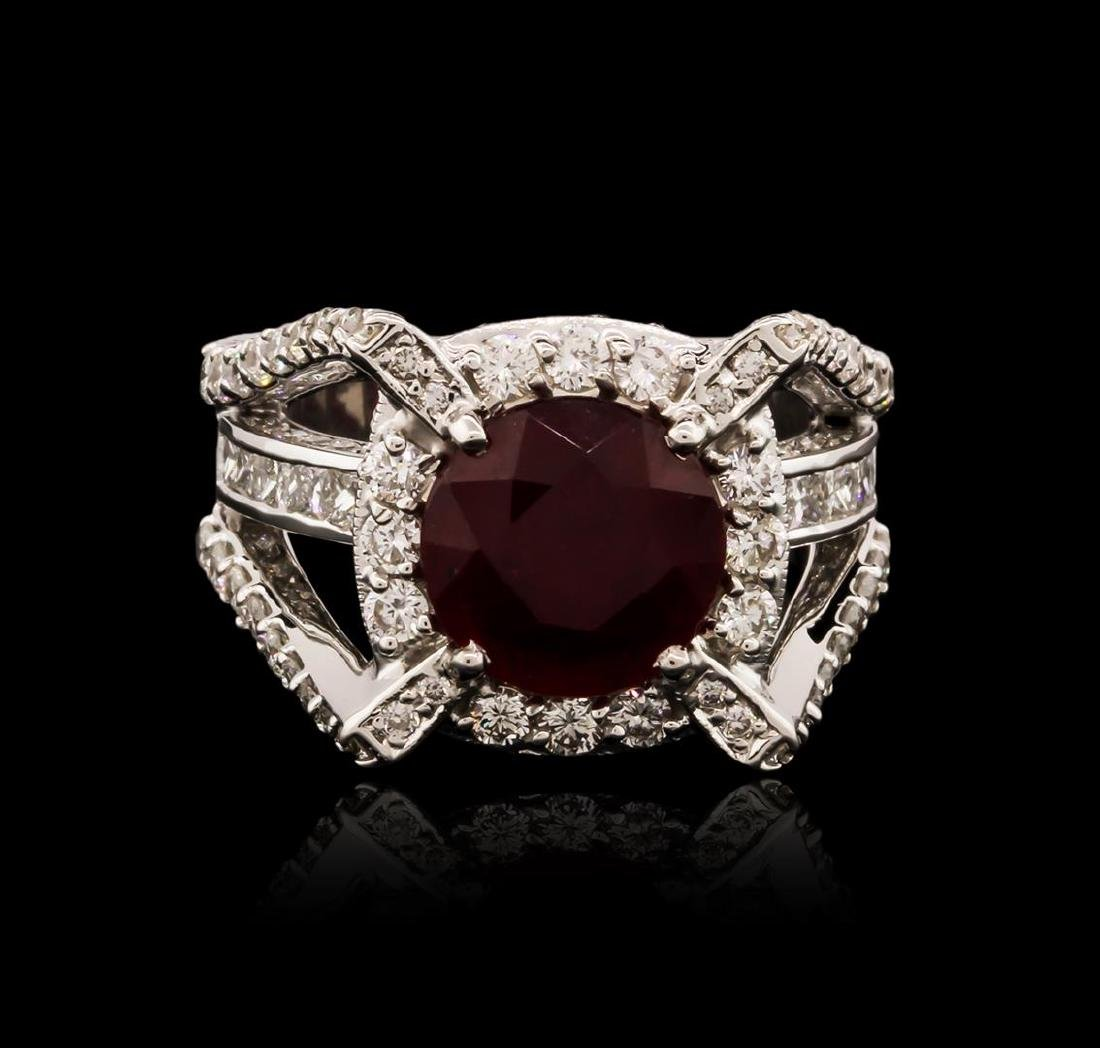 14KT White Gold 5.85 ctw Ruby and Diamond Ring - 2