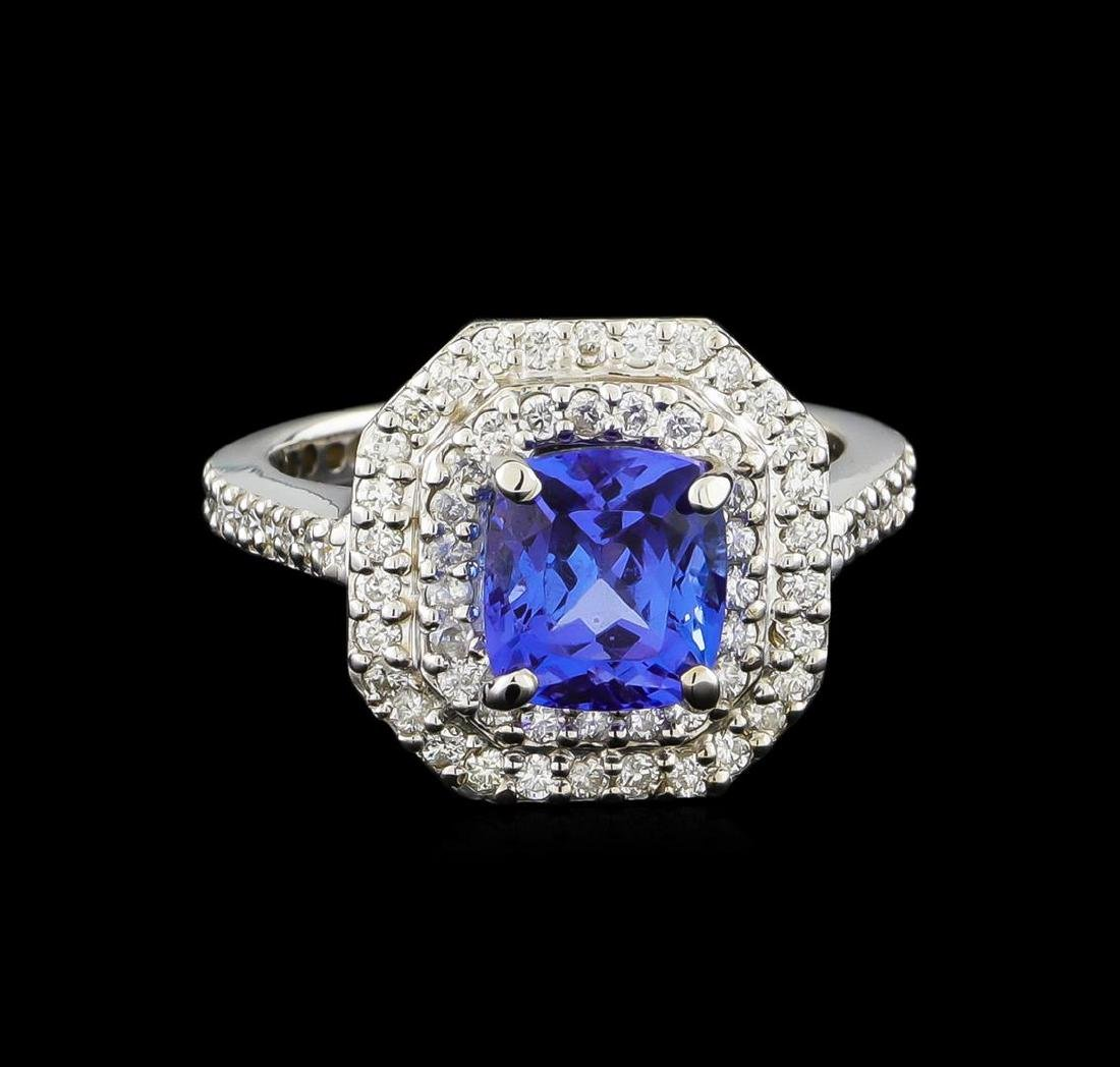 14KT White Gold 2.00 ctw Tanzanite and Diamond Ring - 2