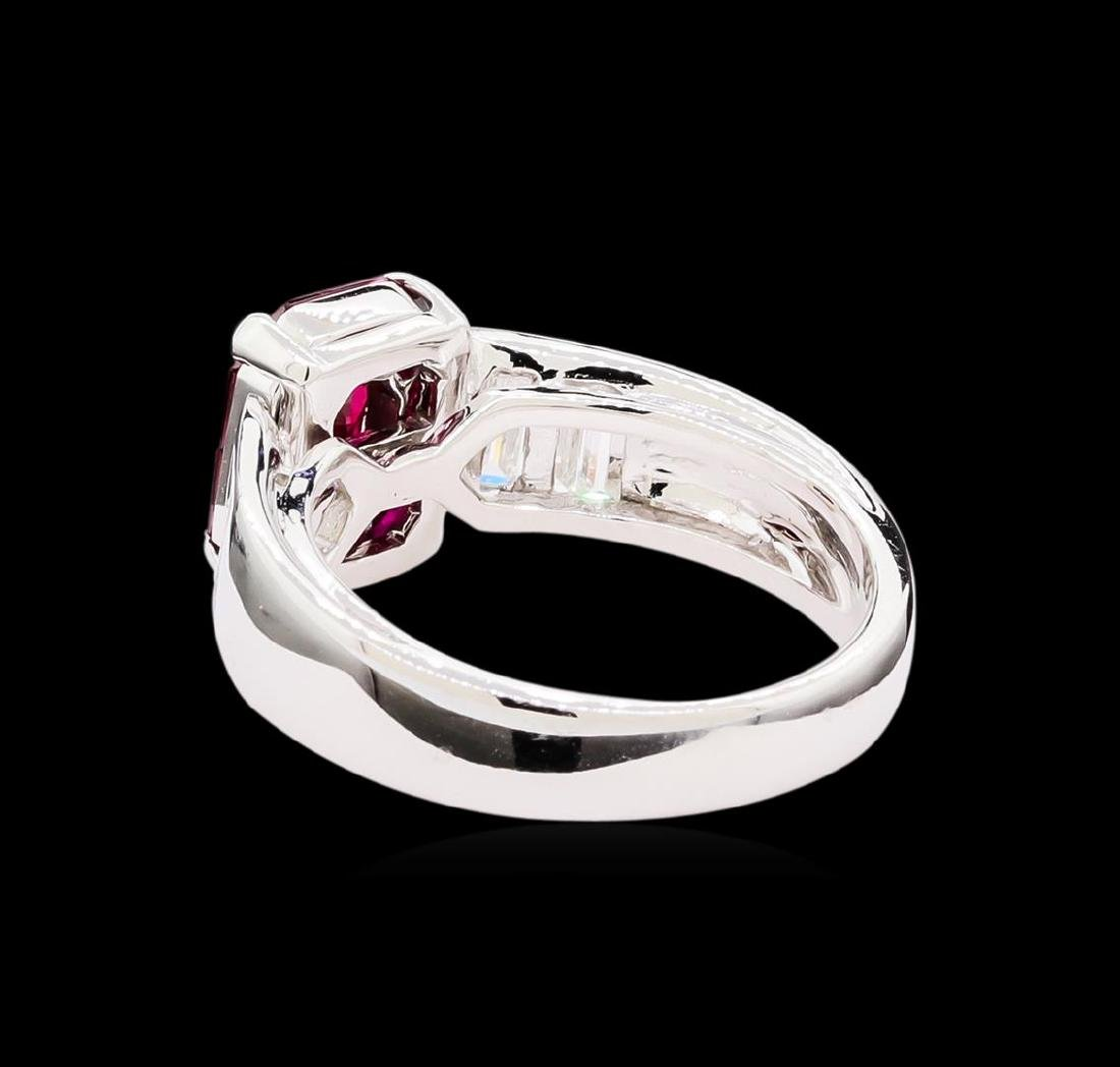 1.00 ctw Ruby and Diamond Ring - 18KT White Gold - 3