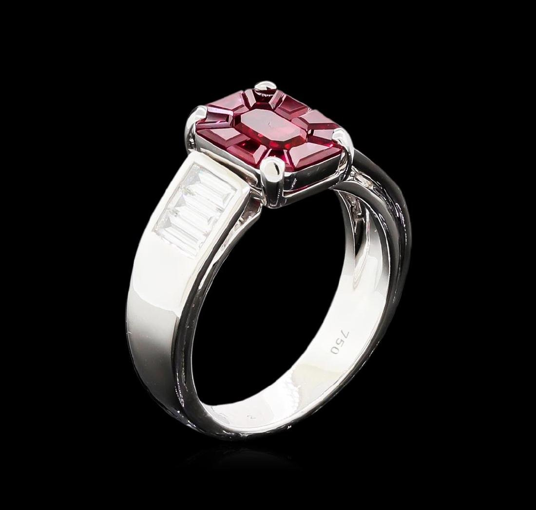1.00 ctw Ruby and Diamond Ring - 18KT White Gold - 4