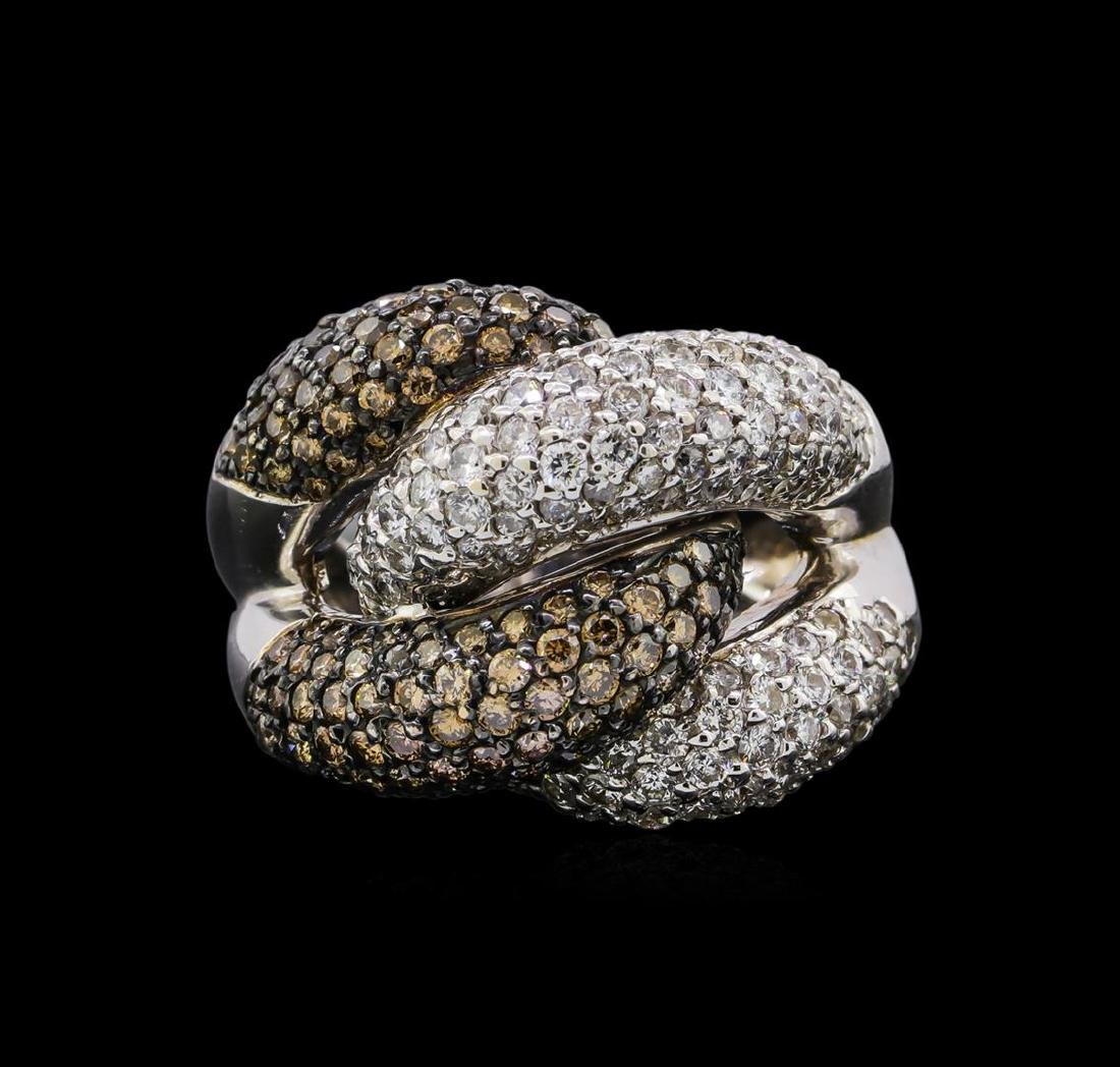 4.98 ctw Brown and White Diamond Ring - 14KT White Gold - 2
