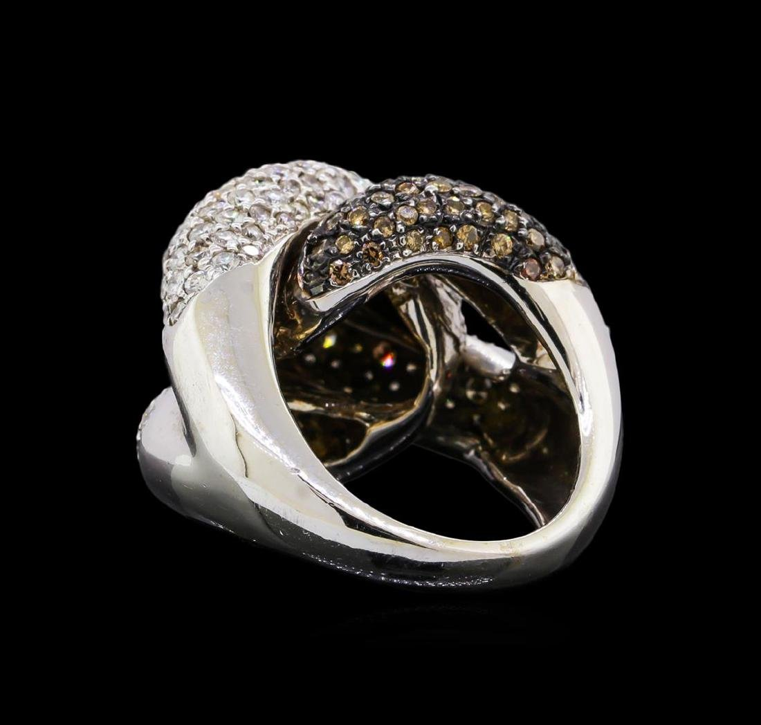 4.98 ctw Brown and White Diamond Ring - 14KT White Gold - 3