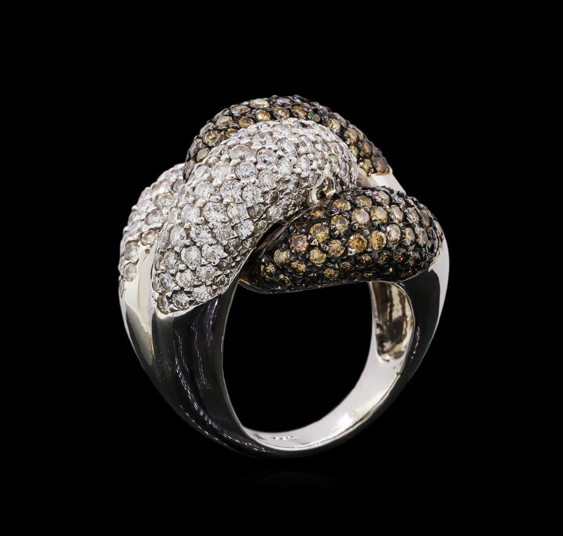 4.98 ctw Brown and White Diamond Ring - 14KT White Gold - 4