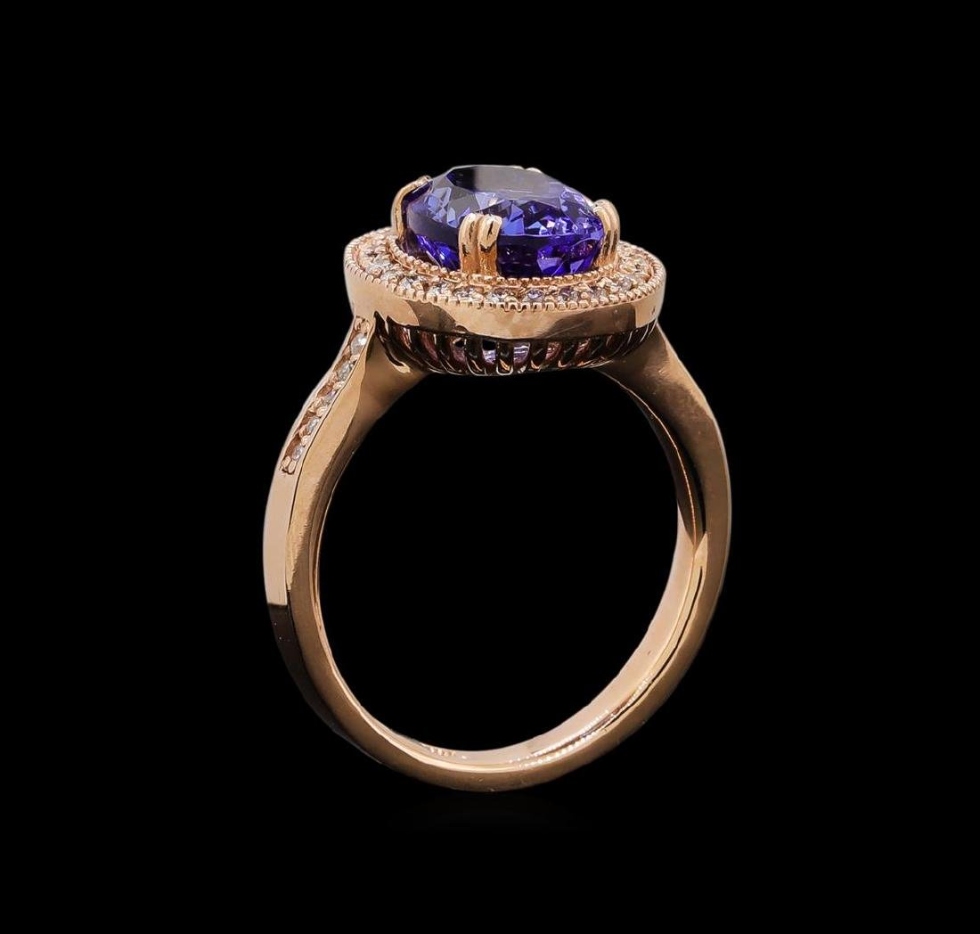 14KT Rose Gold 3.37 ctw Tanzanite and Diamond Ring - 4