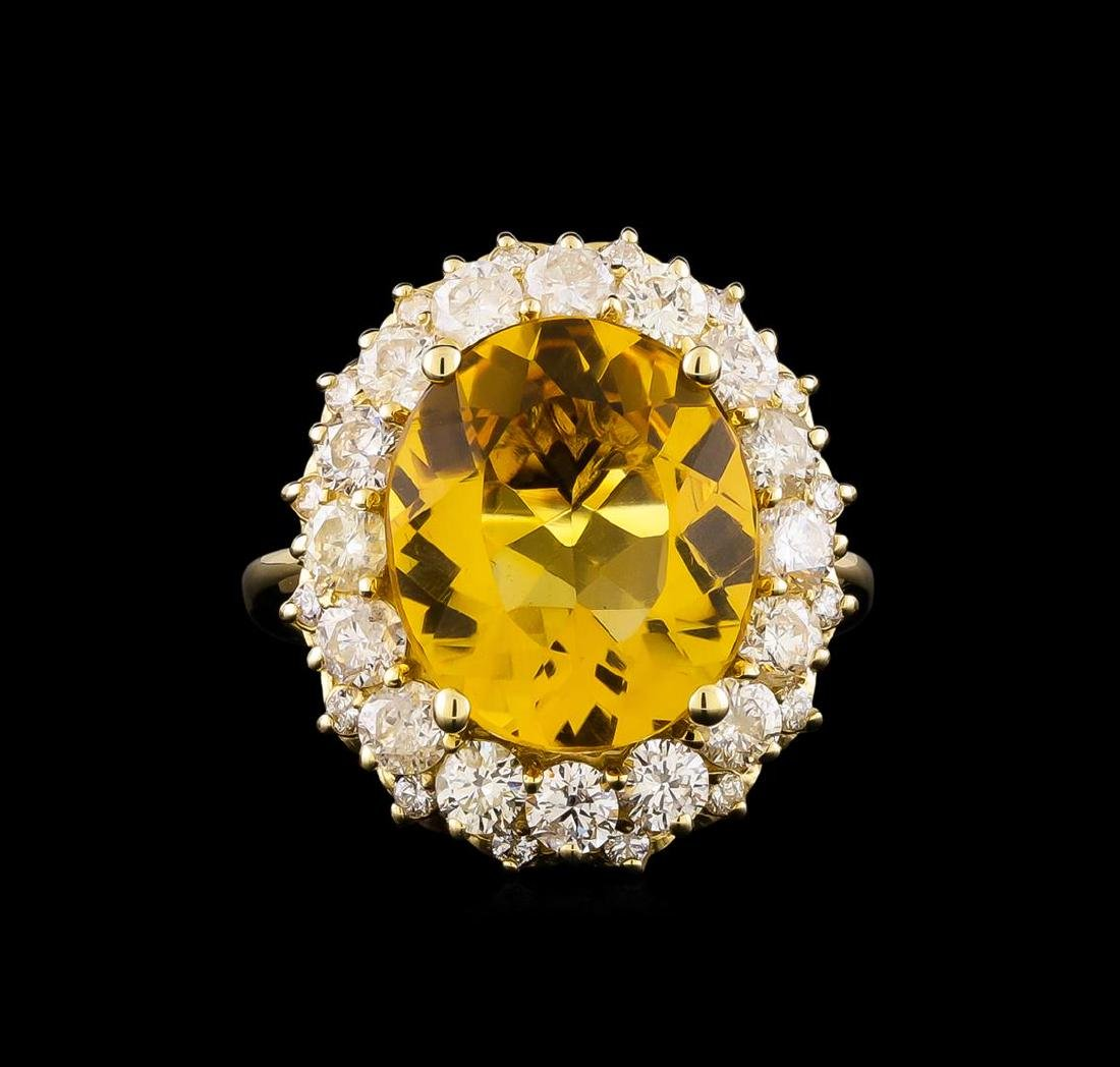 14KT Yellow Gold 6.17 ctw Citrine and Diamond Ring - 2