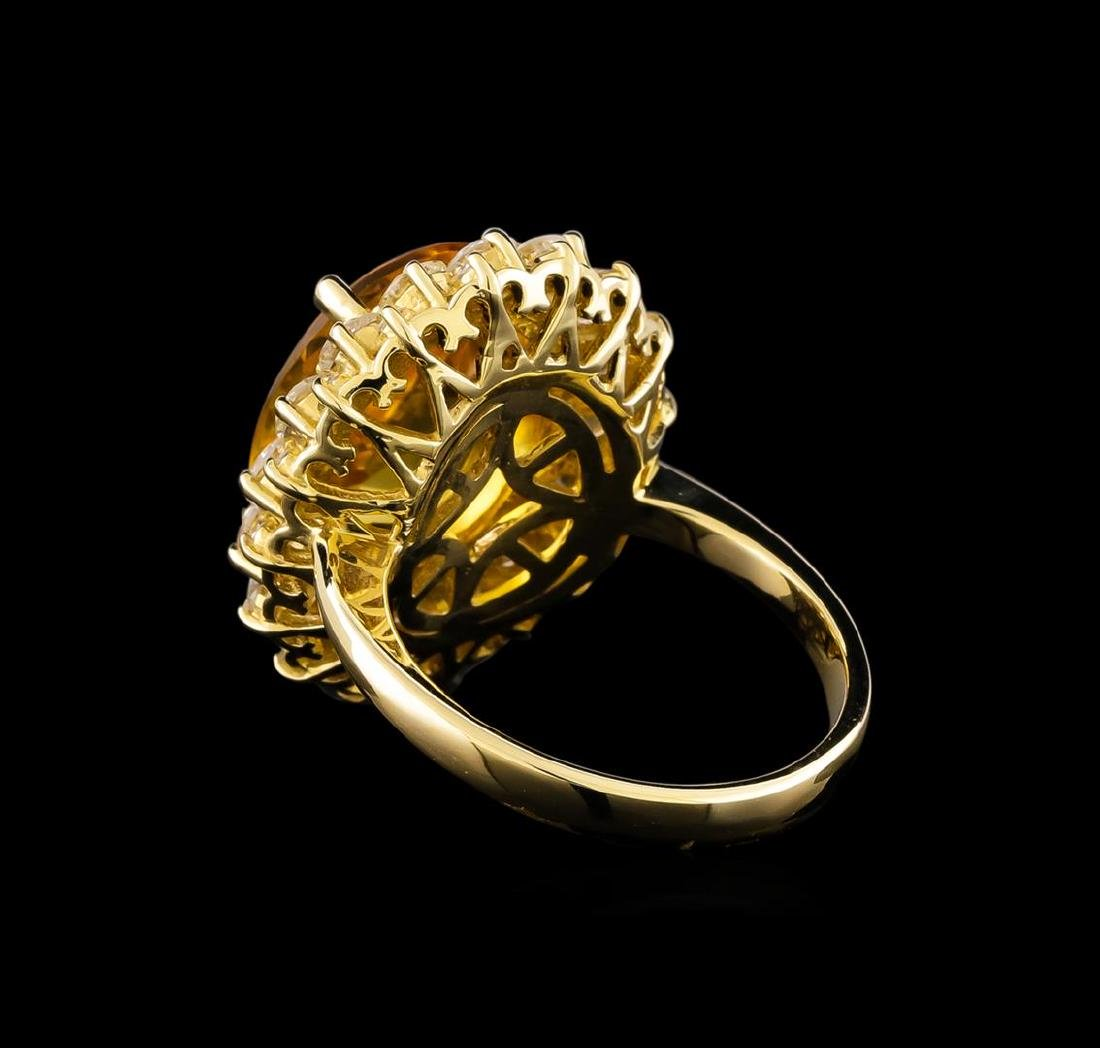 14KT Yellow Gold 6.17 ctw Citrine and Diamond Ring - 3