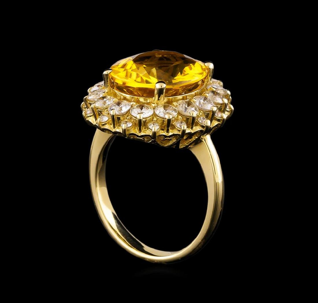 14KT Yellow Gold 6.17 ctw Citrine and Diamond Ring - 4