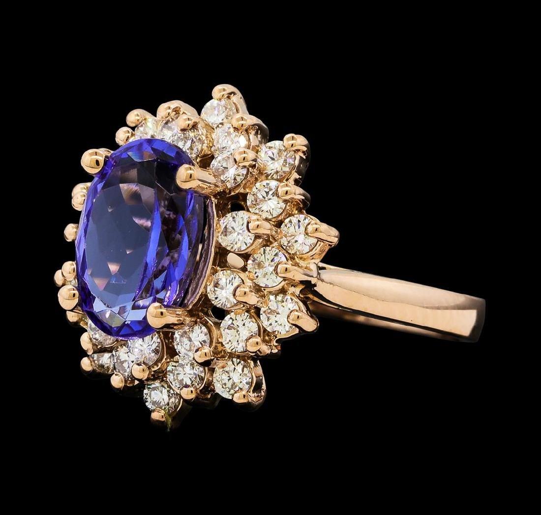 2.72 ctw Tanzanite and Diamond Ring - 14KT Rose Gold