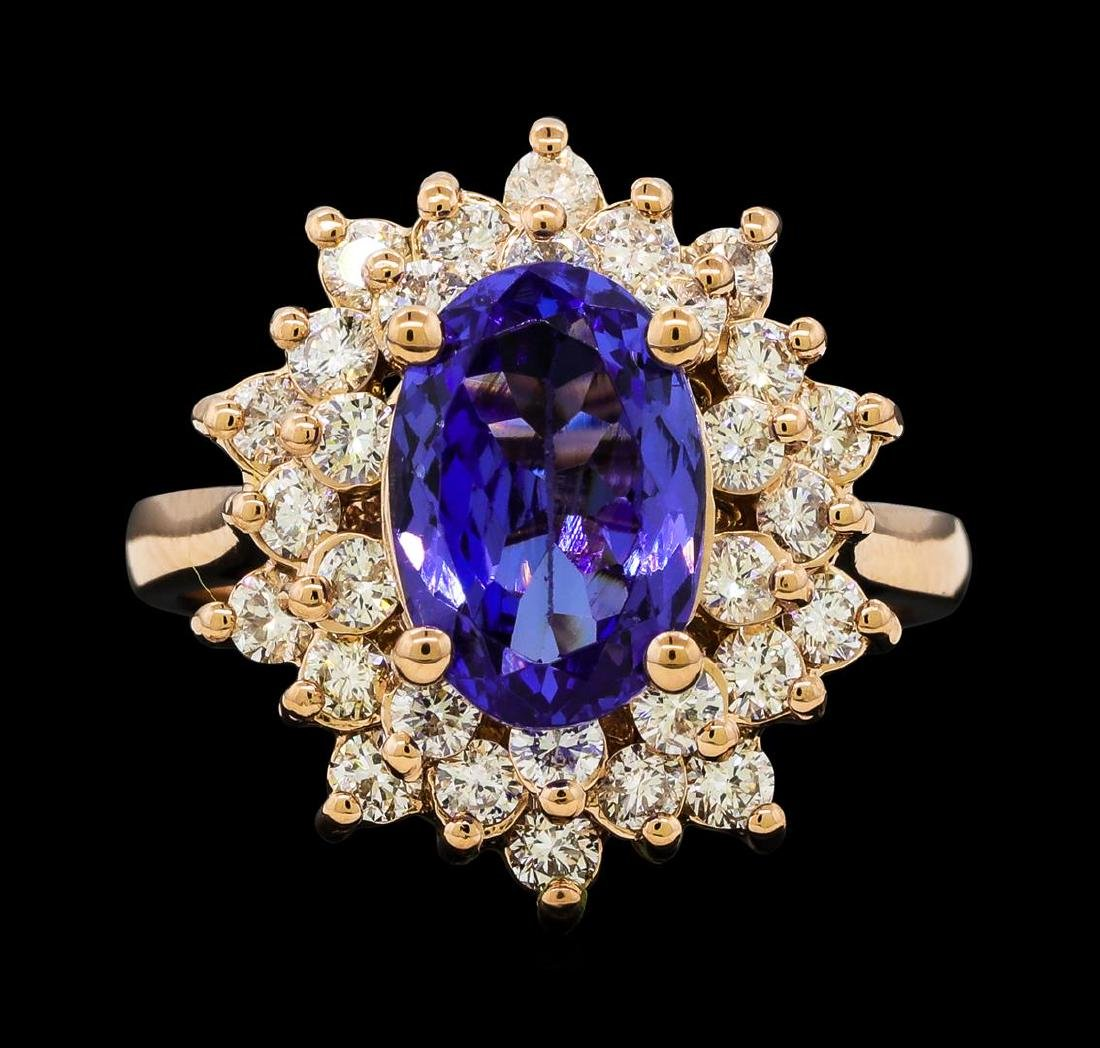2.72 ctw Tanzanite and Diamond Ring - 14KT Rose Gold - 2