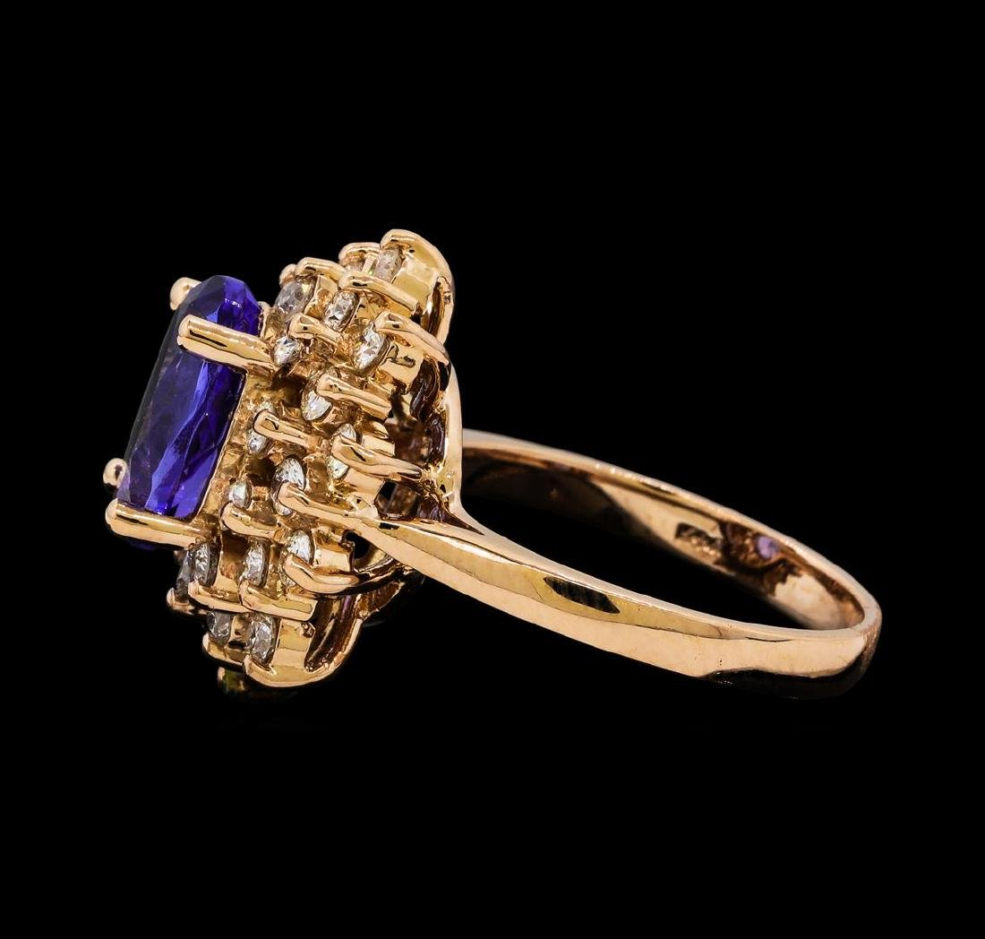 2.72 ctw Tanzanite and Diamond Ring - 14KT Rose Gold - 3