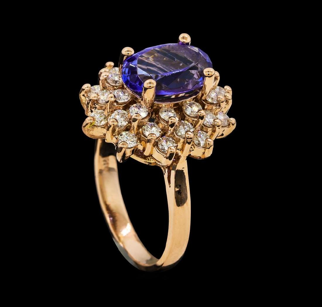 2.72 ctw Tanzanite and Diamond Ring - 14KT Rose Gold - 4