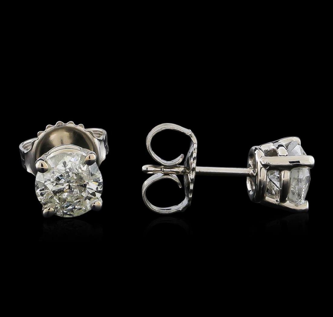 14KT White Gold 1.35 ctw Diamond Stud Earrings - 2