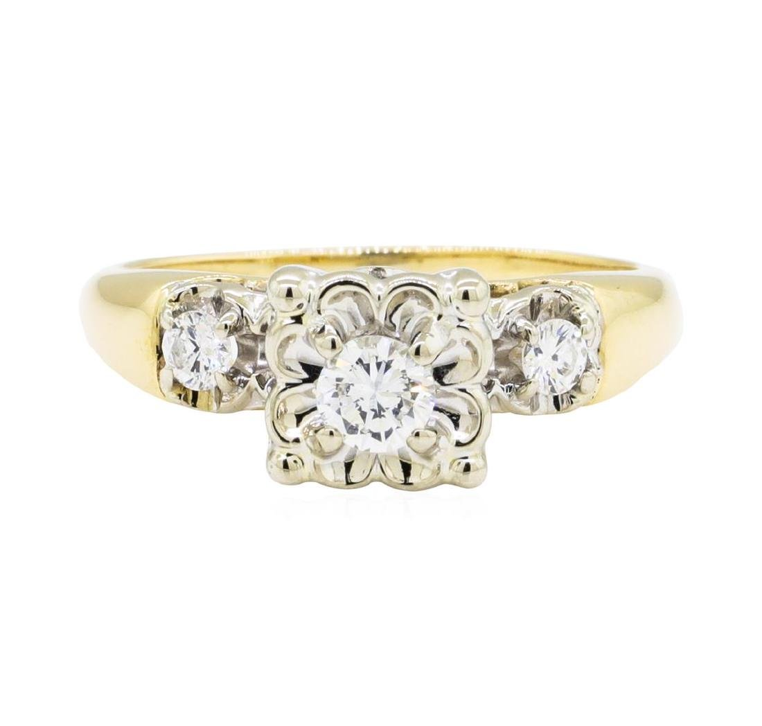 0.30 ctw Diamond Ring - 14KT Yellow and White Gold - 2