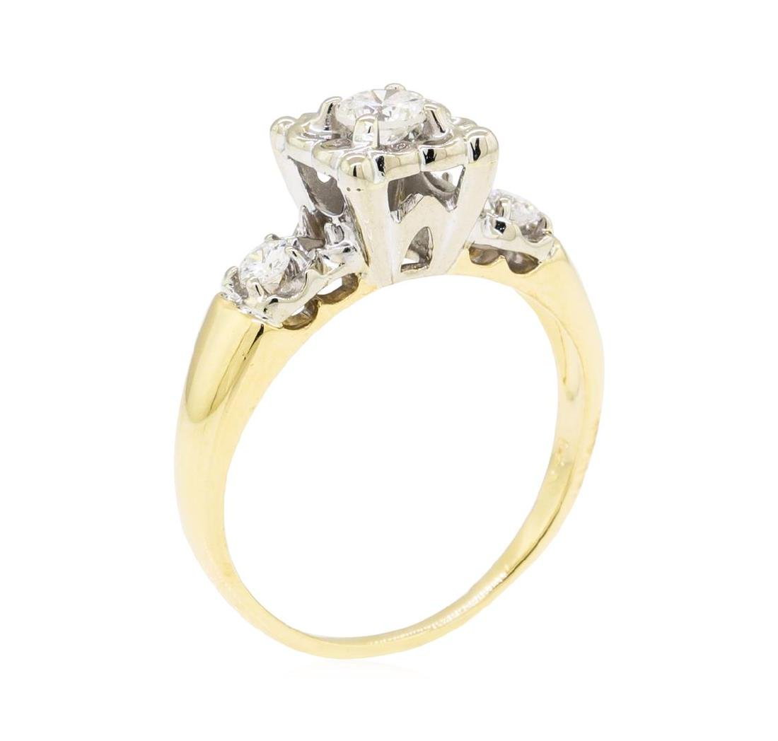 0.30 ctw Diamond Ring - 14KT Yellow and White Gold - 4