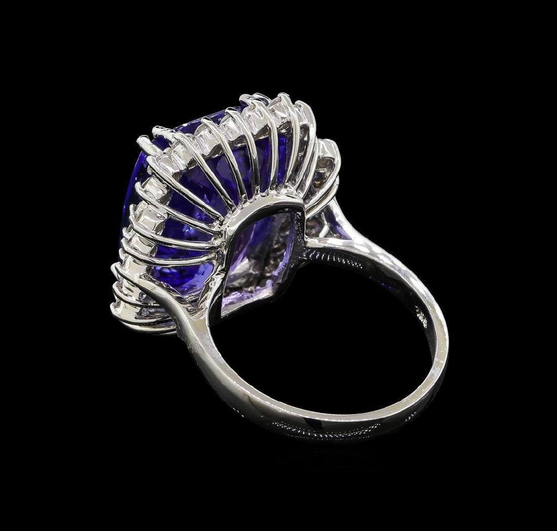 15.75 ctw Tanzanite and Diamond Ring - 14KT White Gold - 3