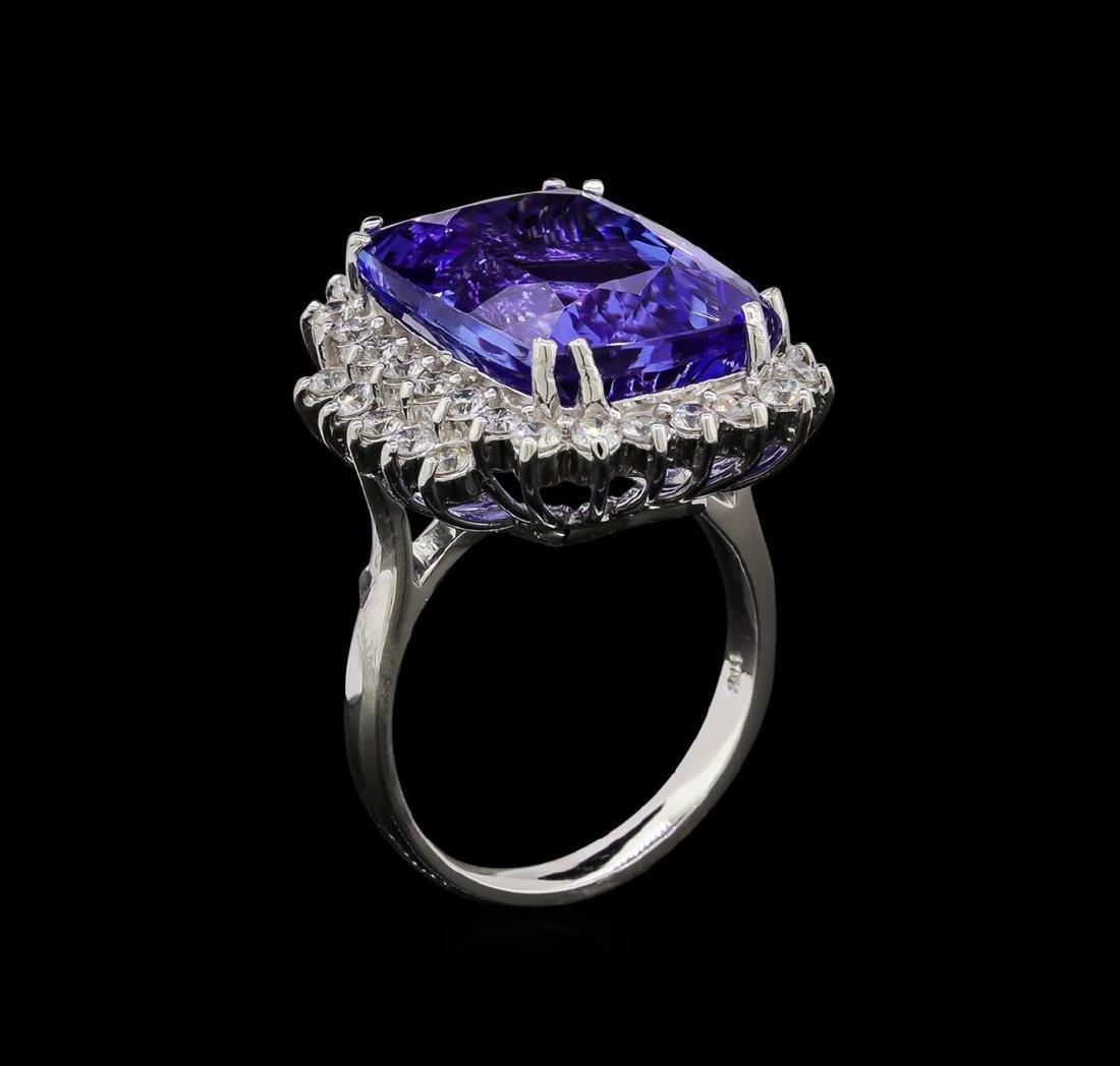 15.75 ctw Tanzanite and Diamond Ring - 14KT White Gold - 4