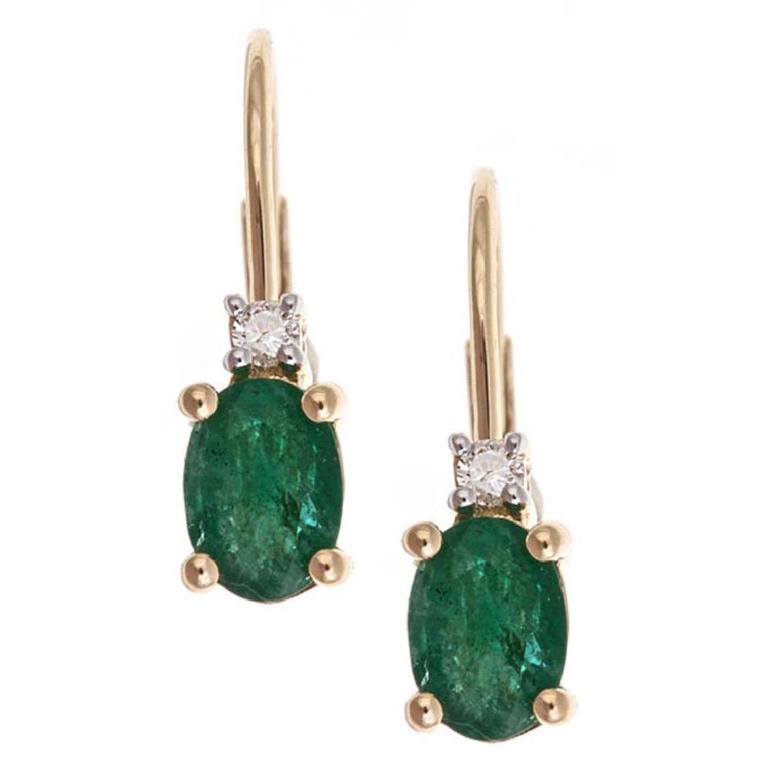 0.84 ctw Emerald and Diamond Earrings - 10KT Yellow
