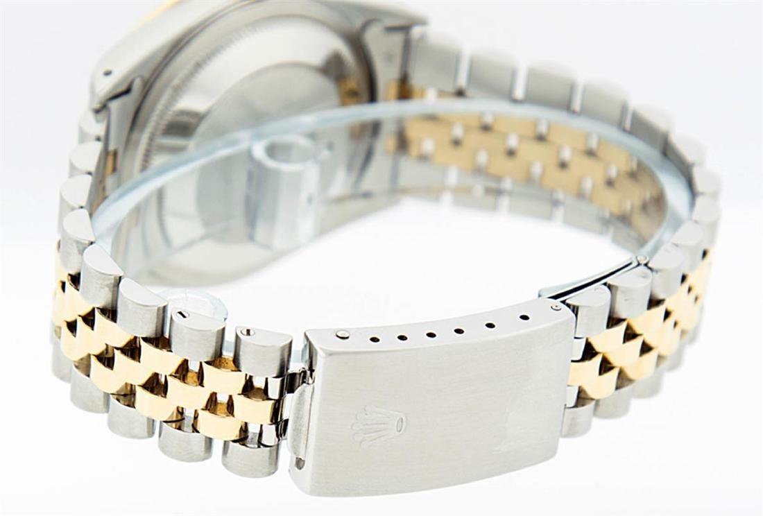 Rolex Mens 2 Tone 14K MOP Sapphire Diamond Channel Set - 2