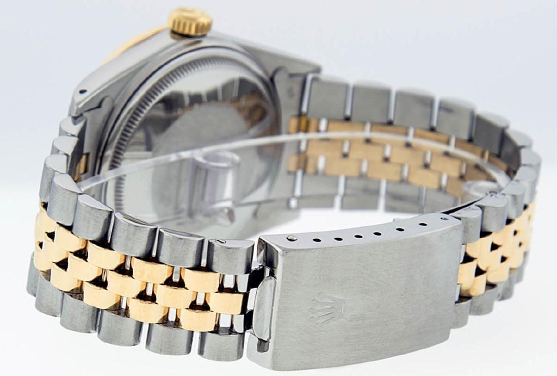 Rolex Mens 2 Tone 14K MOP Sapphire Diamond Channel Set - 4