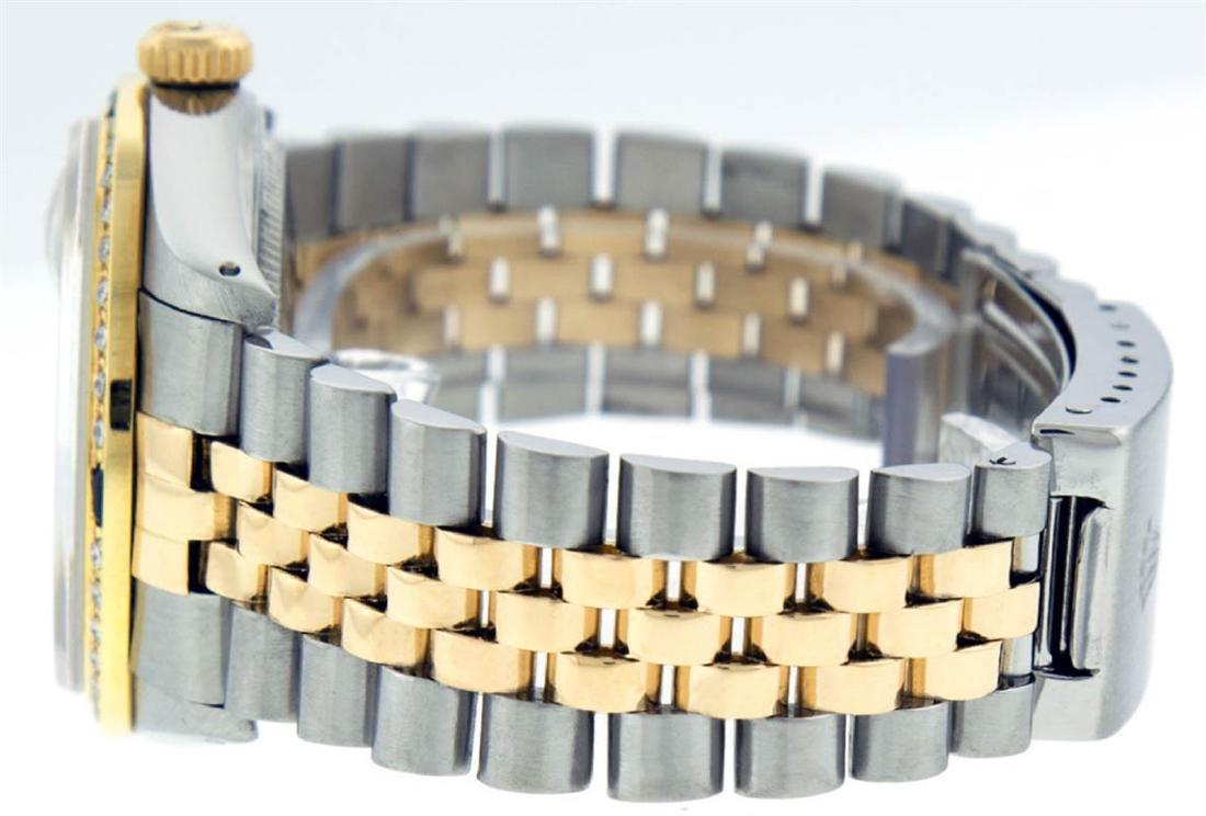 Rolex Mens 2 Tone 14K MOP Sapphire Diamond Channel Set - 5