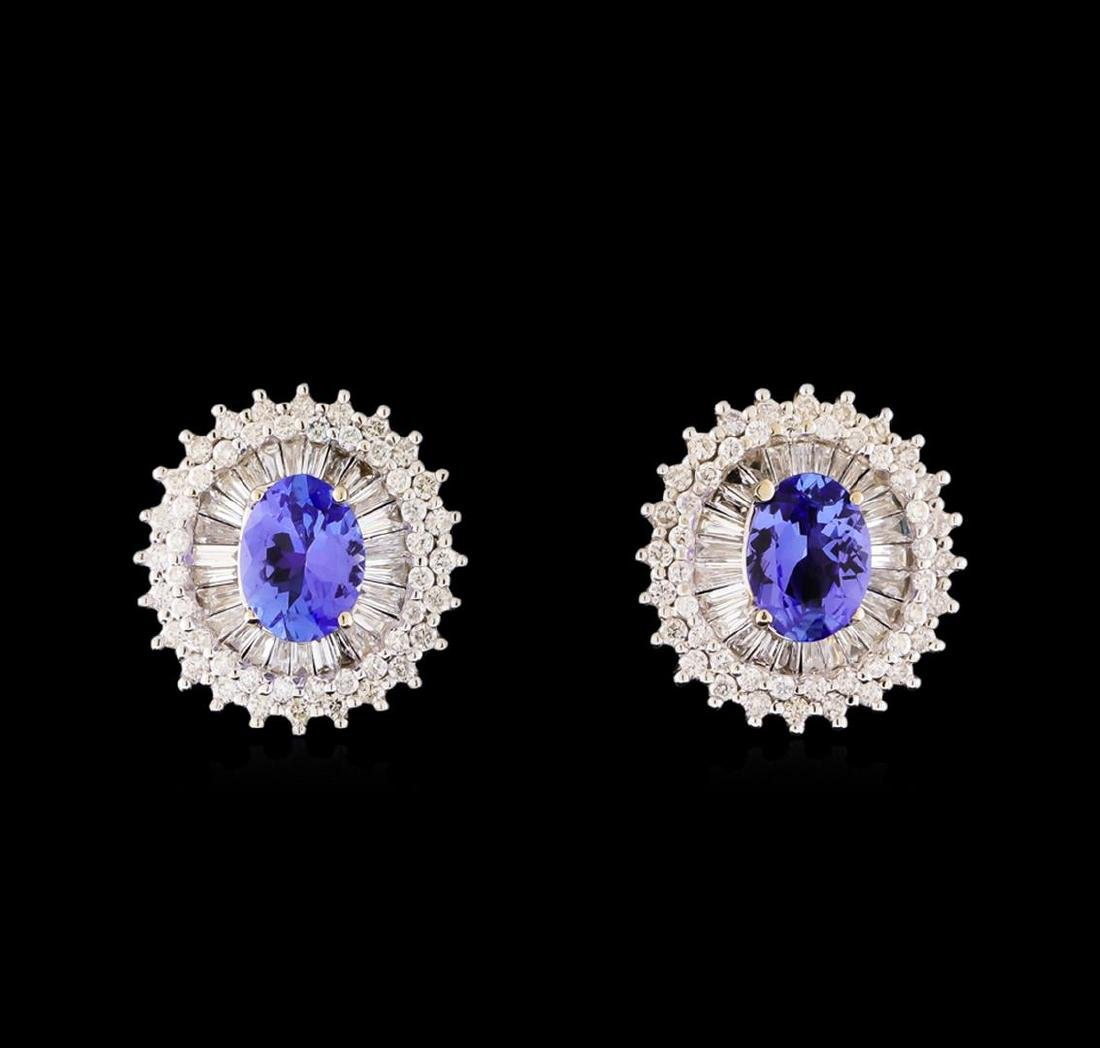 14KT White Gold 2.44 ctw Tanzanite and Diamond Stud