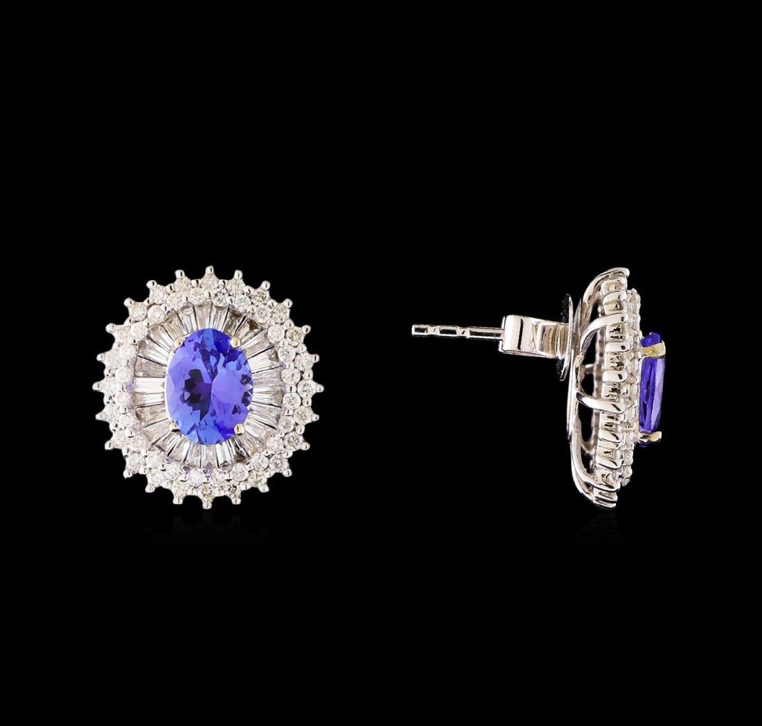 14KT White Gold 2.44 ctw Tanzanite and Diamond Stud - 2
